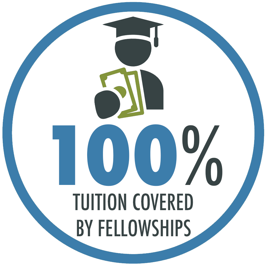100% of tuition is covered by Pardee RAND scholarships and fellowships