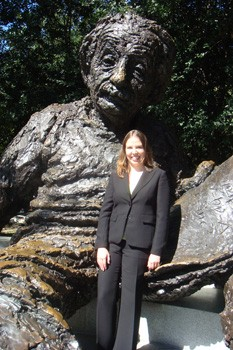 PRGS fellow Sarah Gaillot at the Albert Einstein statue in D.C.