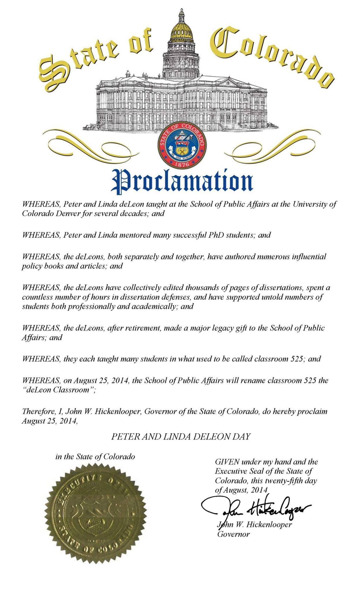 Gov. Hickenlooper's proclamation