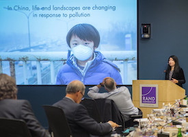 Min Mao presents to the RAND Board of Trustees