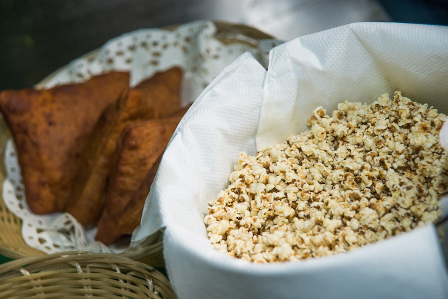 Popped Sorghum, with millet samosas in the background