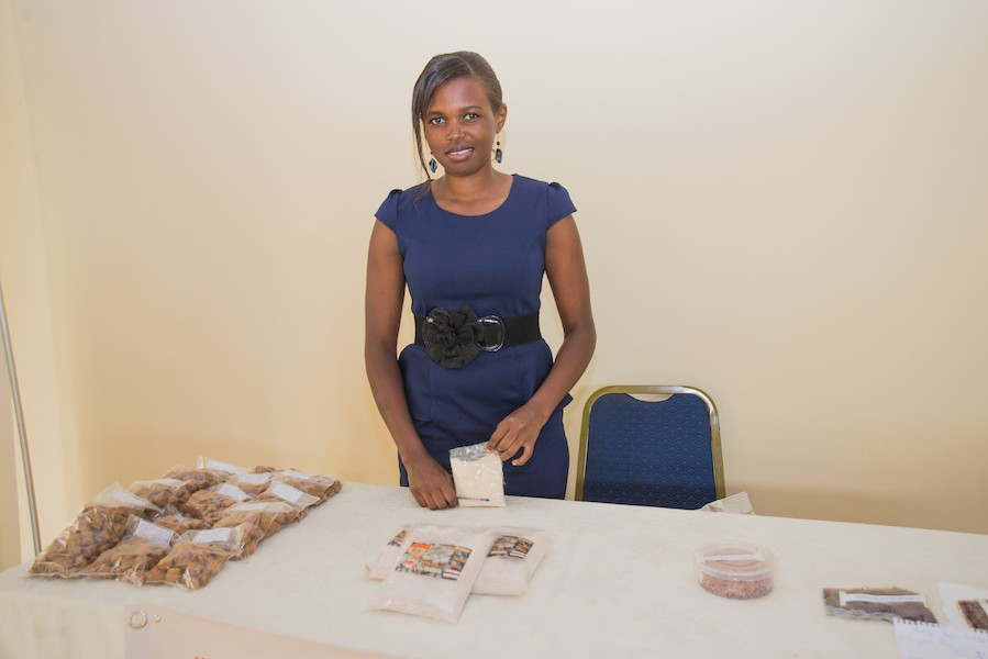 Product developer Aleto Mary Cecilia with millet and tamarind seed flour