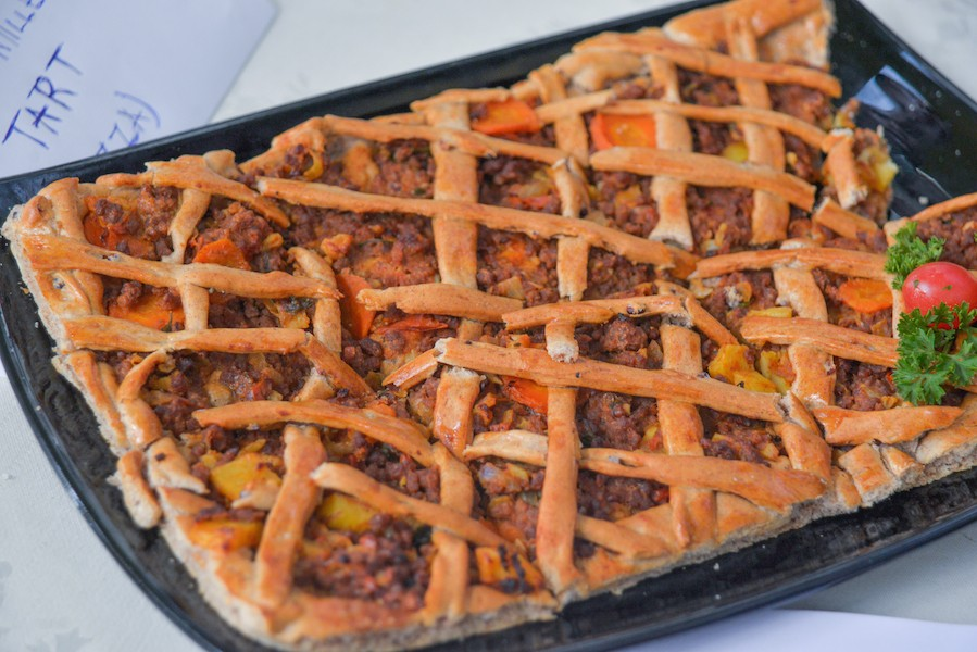 Sweet millet and sorghum tort (pizza) by youth foodie Donald Baguma