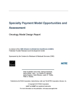 Specialty Payment Model Opportunities and Assessment